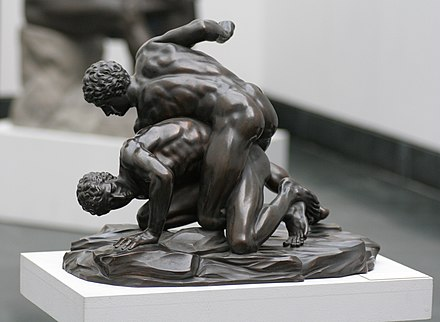 The Ancient Greek version of MMA was called the pankration. Similar to modern MMA it freely employed wrestling techniques. Pankratiasten in fight copy of greek statue 3 century bC.jpg
