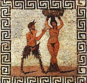 Hamadryad - Tile mosaic of Pan and a hamadryad, found in Pompeii