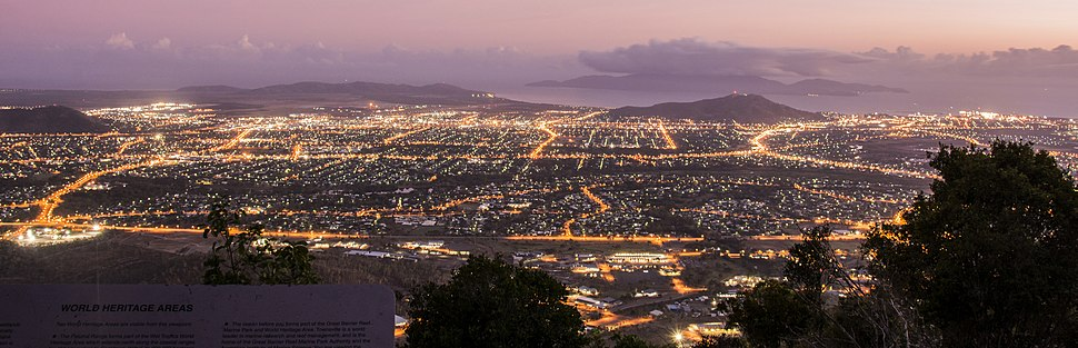 Panoramic view of Townsville from Mount Stuart at dawn