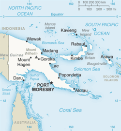 Solomon Sea is located east of the island of New Guinea.