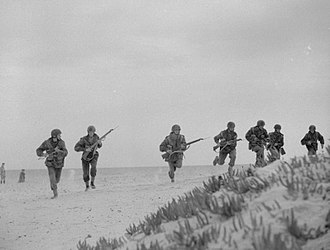 Operation Fustian - British paratroopers advance in line abreast.