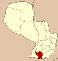 Map of Paraguay highlighting the department
