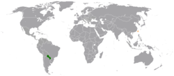 Map indicating locations of Paraguay and Taiwan