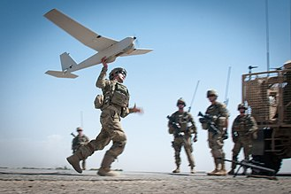 AeroVironment RQ-20 Puma - A U.S. soldier launches a RQ-20 by hand