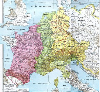 East Francia - The partition of the Carolingian Empire by the Treaty of Verdun in 843. From Histoire Et Géographie - Atlas Général Vidal-Lablache, 1898.