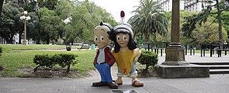 Patoruzú - Statues of Isidorito and Patoruzito at San Telmo, Buenos Aires, 2014