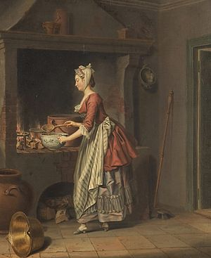 A maid taking soup from a pot