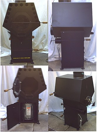 Stove - The pentagonal self-cleaning wood stove, is an EPA style secondary combustion air wood stove with a fan forced heat exchanger, thermostat, outside air intake with throttle, shakers, and ash drop for easy cleanup.