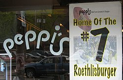 "Peppi's restaurant, home of the ""Roethlisburger."""