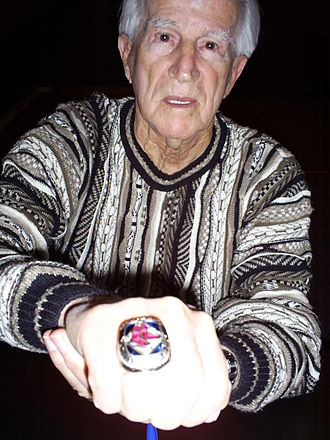 Johnny Pesky - Pesky showing off his 2007 World Series ring