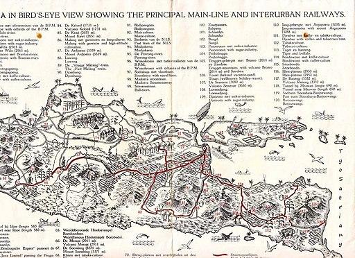 Peta Jalur Kereta Api dan Wisata di Jawa, 1938