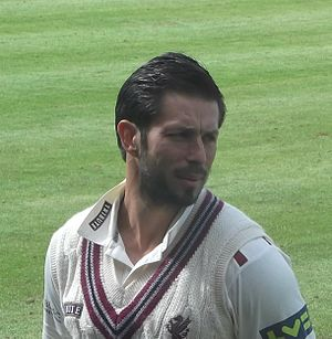 Peter Trego - Trego preparing to lead the Somerset 2nd XI against the Devon County Cricket Club, 2014.