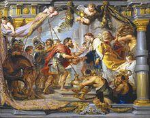 Face à face du pouvoir temporel (représenté par Abraham en armure et ses soldats) et spirituel (représenté par Melchisédech et ses serviteurs, avec corbeille de pains et aiguières)..
