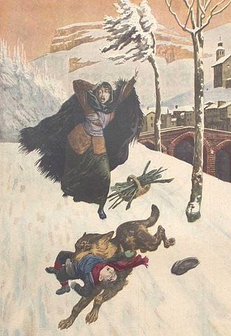 Wolf attacks on humans - Predatory attack on a child, as depicted on a 1914 issue of Le Petit Journal