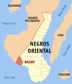 Map of Negros Oriental with Basay highlighted