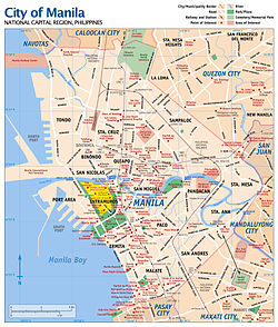 Map of Manila with Intramuros highlighted in yellow