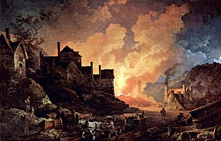 <i>Coalbrookdale by Night</i> painting by Philip James de Loutherbourg