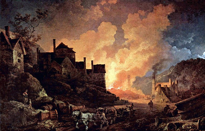 Image of the painting Coalbrookdale by Night, showing a blast furnace at night time.
