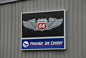 Phillips 66 - Winged version of logo used for domestic airplane fuel stations, seen in Hillsboro, Oregon