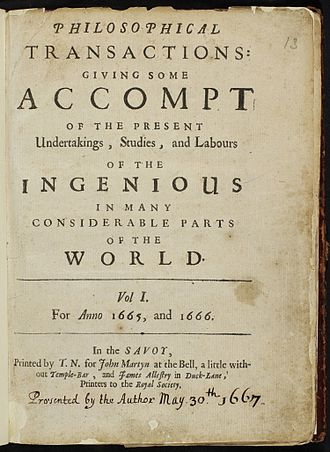 Philosophical Transactions of the Royal Society B - Cover of the first volume published in 1665