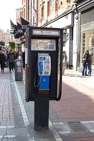 Eir (telecommunications) - Eircom phonebooth in Grafton Street, Dublin