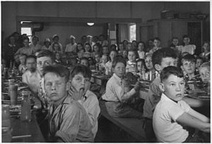 John Burroughs - Children eating lunch at John Burroughs School in Fresno City, California (circa May 1940)