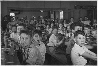 John Burroughs - Children eating lunch at John Burroughs School in Fresno City, California (circa May 1940)