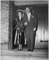 Photograph of Gerald R. Ford and Betty Ford on the Steps of Grace Episcopal Church in Grand Rapids, Michigan... - NARA - 186890.tif