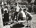 Photograph of members of the Deseronto Legion and Sea Cadets preparing to take part in the Centennial Parade held in Deseronto, Ontario, on Thursday, 17th June, 1971. Three members of the public and (5037211234).jpg