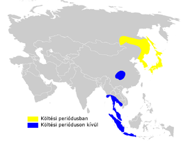 Phylloscopus coronatus distribution map.png
