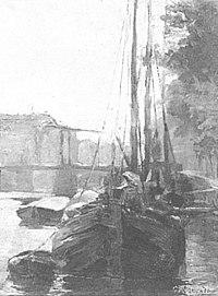Piet Mondriaan - Waalseilandsgracht met brug en afgemeerde tjalken - A40 - Piet Mondrian, catalogue raisonné.jpg