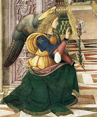 Gabriel - Detail of Gabriel from Pinturicchio's The Annunciation (1501)