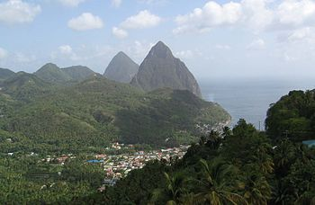 The Pitons in St. Lucia with the fishing villa...