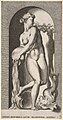 Plate 6- Thetis standing in a niche with a shell and sea creature, pouring water out of a vase, looking to her left, from a series of mythological gods and goddesses MET DP830914.jpg