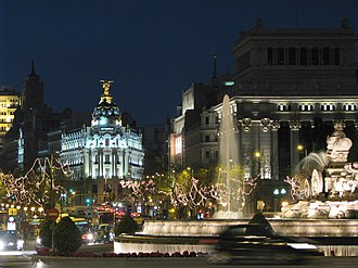 Madrid bid for the 2020 Summer Olympics - Plaza de Cibeles at night
