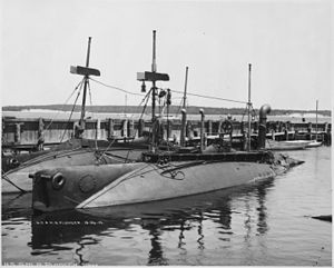 Plunger (SS2), renamed A1. Port bow, moored beside the Shark (SS8), 1902 - NARA - 512925.jpg