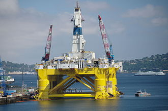 Seattle Arctic drilling protests - Shell Polar Pioneer semi-submersible offshore drilling rig  at the Port of Seattle