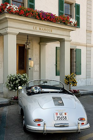"Cologny - Porsche 1600 in front of ""Le Manoir"" or Manor House in Cologny"