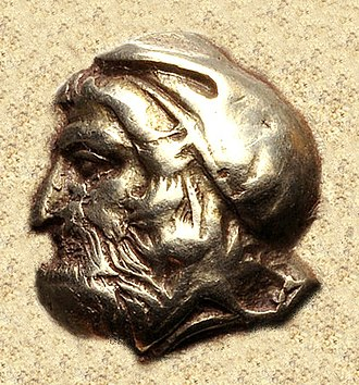 Cyrus the Younger - Anonymous portrait of a Satrap of Asia Minor, around the time of Cyrus the Younger. From a coin of Ionia, Phokaia, circa 478-387 BC