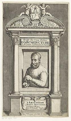 Portret van Giacomo Barozzi da Vignola Titelpagina voor Giacomo Barozzi da Vignola, Reigle des Cinq Ordres d'Architecture, s.a., RP-P-1982-1310.jpg