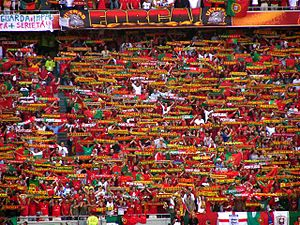 Scarf - Portuguese football scarves held in a coordinated 'Scarf Wall' display, Euro 2004.