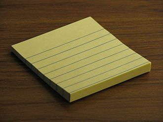 Post-it Note - A small pad of original style lined yellow Post-It brand notes