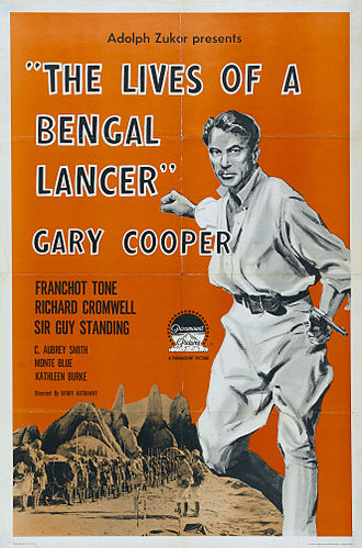 The Lives of a Bengal Lancer (film) - The Lives of a Bengal Lancer promotion poster from 1935 showcasing Gary Cooper.