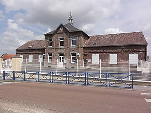 Prémont - The town hall and school of Prémont