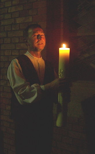 Easter Vigil - Lutheran deacon with Easter candle