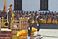 Pranab Mukherjee receiving the Guard of Honour, at the ceremonial reception, at Tashichhodzong Palace, in Thimphu, Bhutan on November 07, 2014. The King of Bhutan, His Majesty Jigme Khesar Namgyel Wangchuck is also seen.jpg