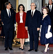 President & First Lady Kennedy with Chief Justice Earl Warren & Mrs. Warren, circa 1962