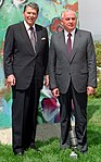 President Reagan poses with Mikhail Gorbachev by the piece of the Berlin Wall at Library (cropped).jpg