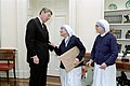 President Ronald Reagan meeting with Mother Teresa and Sister Priscilla.jpg