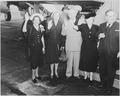 President Truman and members of his party wave good-bye before boarding his airplane to fly to Brazil. L to R, Mrs.... - NARA - 199688.tif